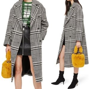 TopShop Houndstooth Kim Check Pea Coat Jacket